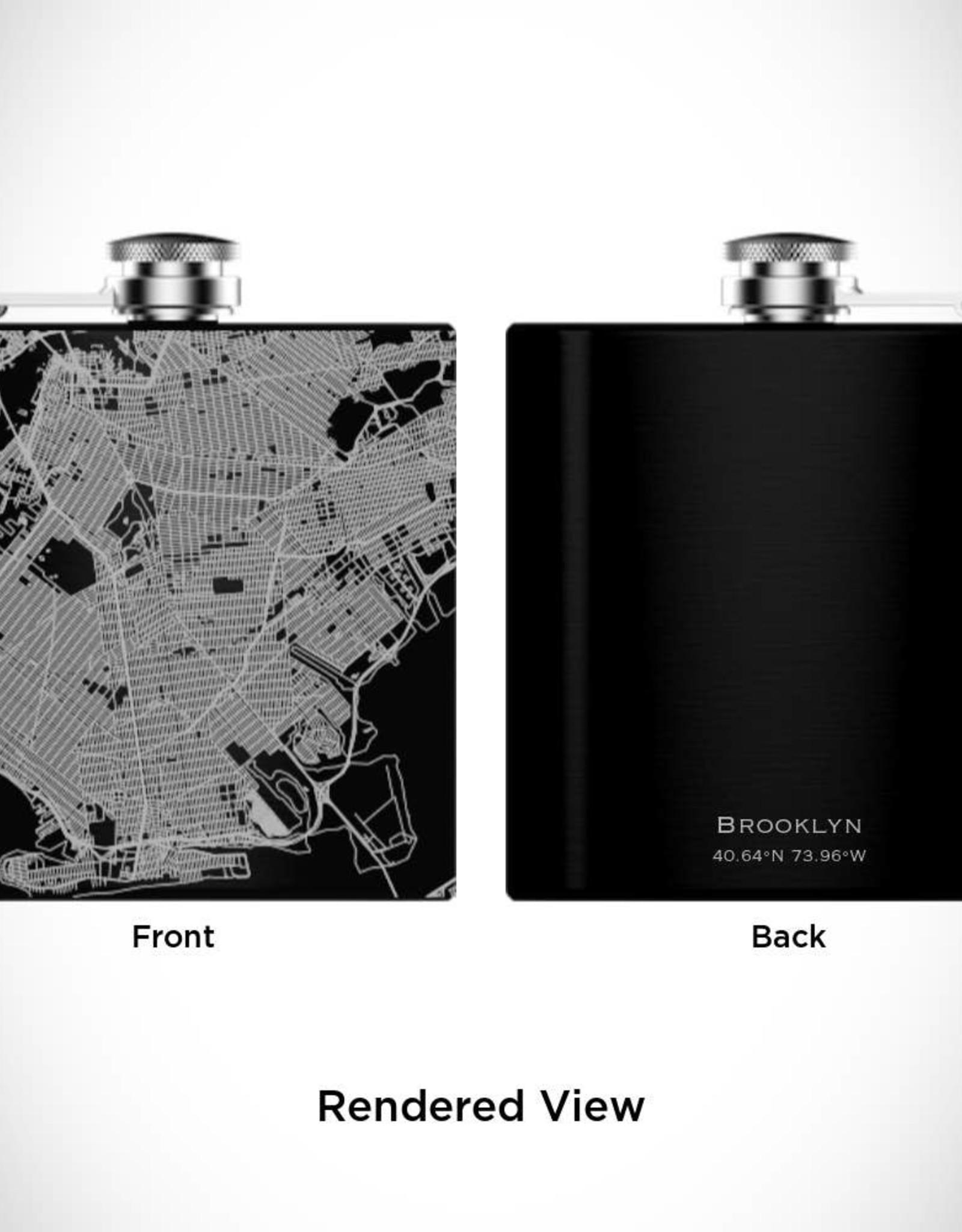Brooklyn Map Hip Flask in Matte Black