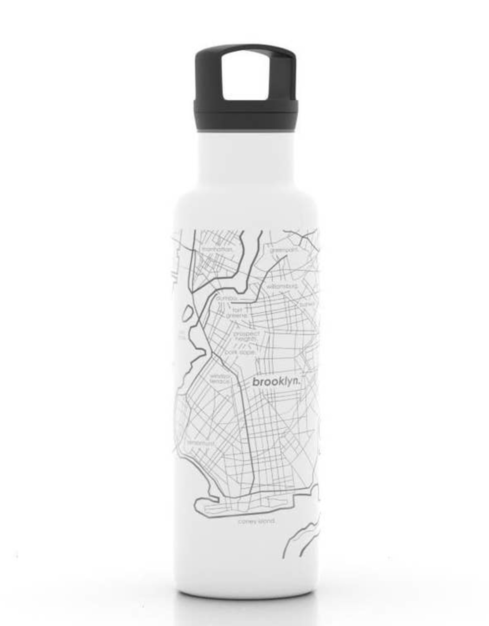 Brooklyn NY Map 21 oz Insulated White Water Bottle