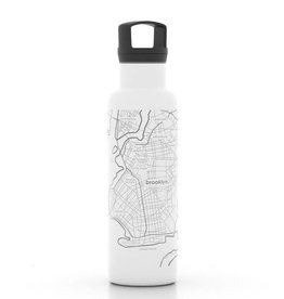 Well Told Brooklyn NY Map 21 oz Insulated White Water Bottle