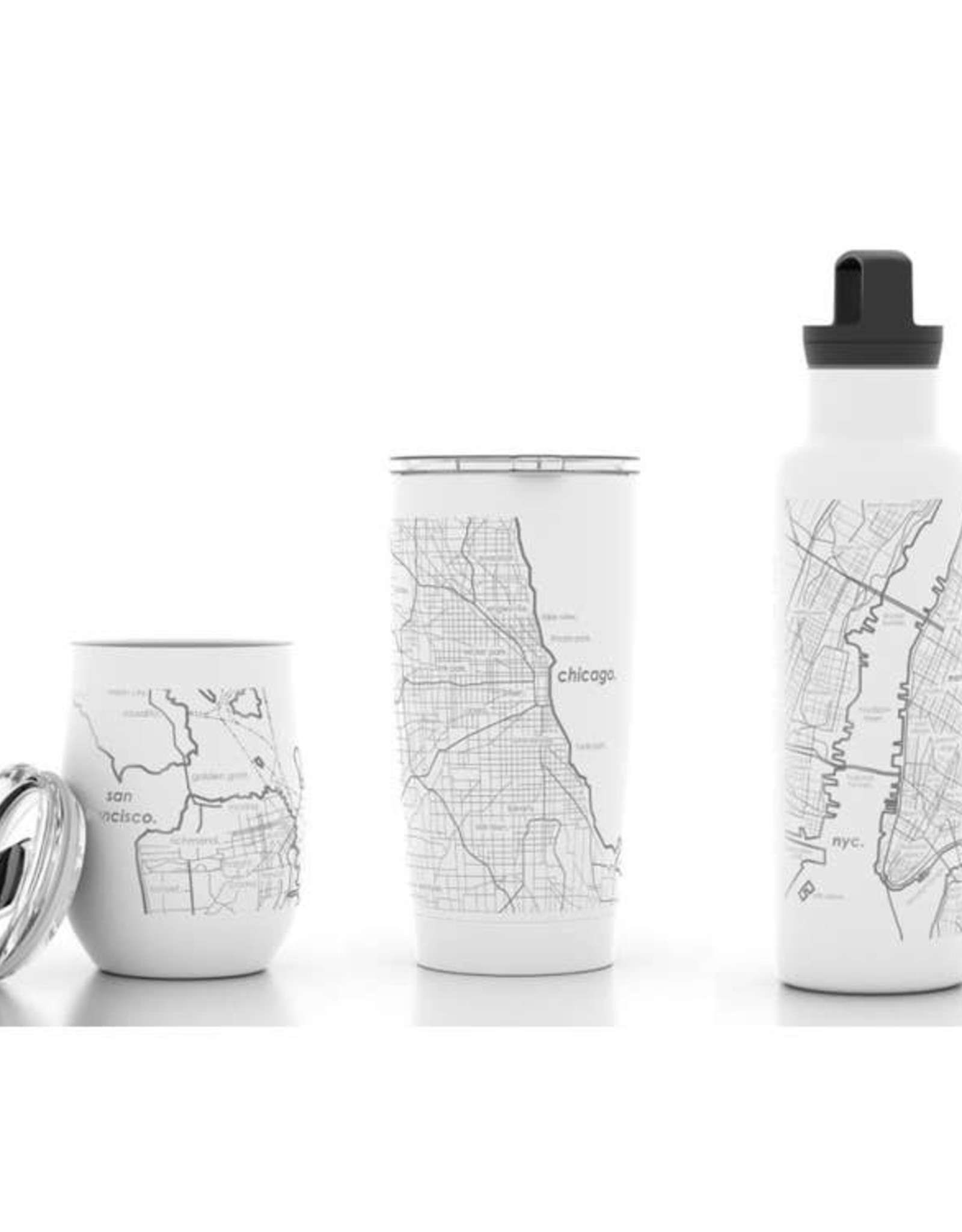 Well Told Brooklyn NY Map 12 oz  White Insulated Wine Tumbler