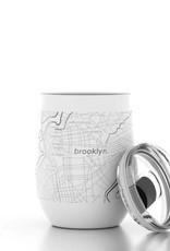 Brooklyn NY Map 12 oz  White Insulated Wine Tumbler