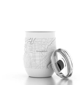 Brooklyn NY Map 12 oz  White Insulated Wine Tumbler