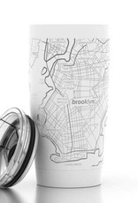 Brooklyn NY Map 20 oz White Insulated Pint Tumbler
