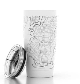 Brooklyn NY Map 20 oz White Insulated Pint Tumbler
