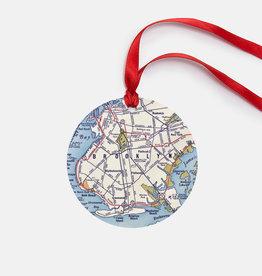 Daisy Mae Designs Ornament: Round Brooklyn Map