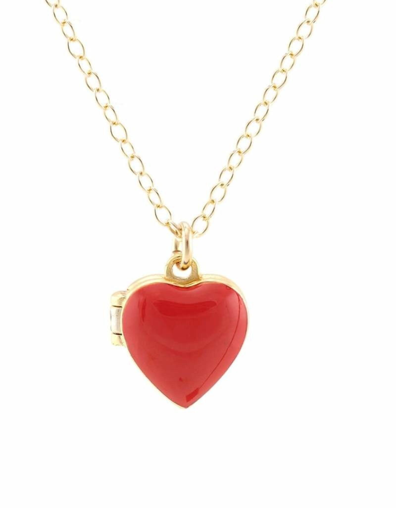 Small Heart Locket in red enamel