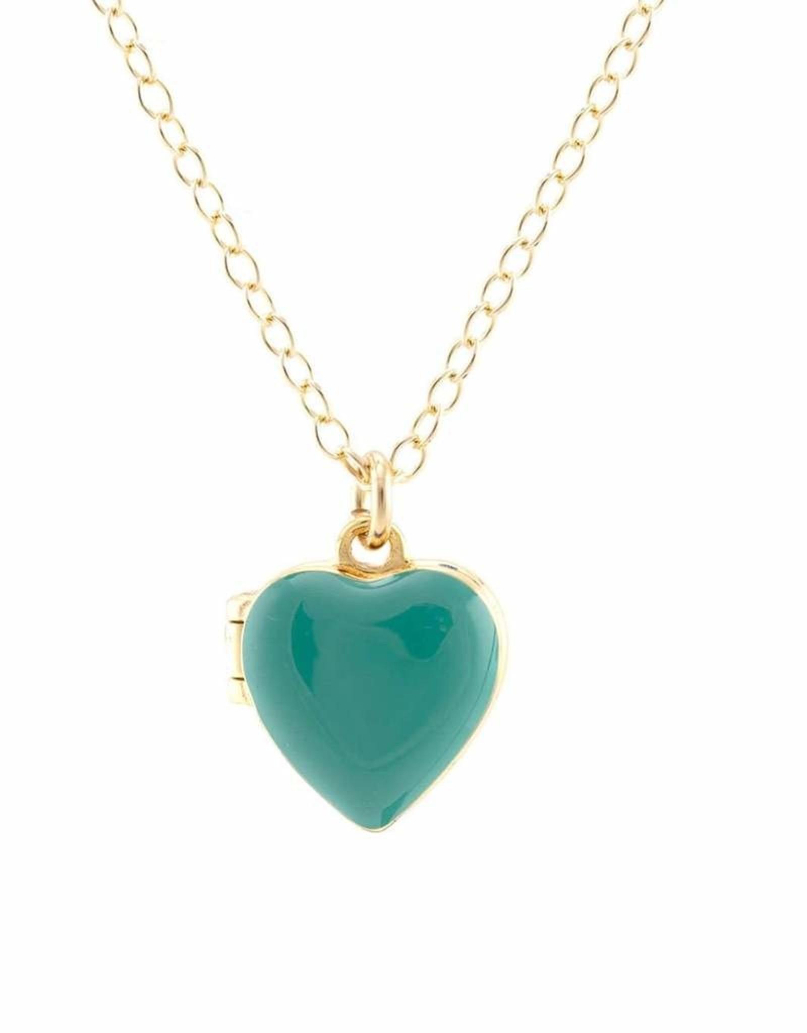 Kris Nations Small Heart Locket in turquoise enamel