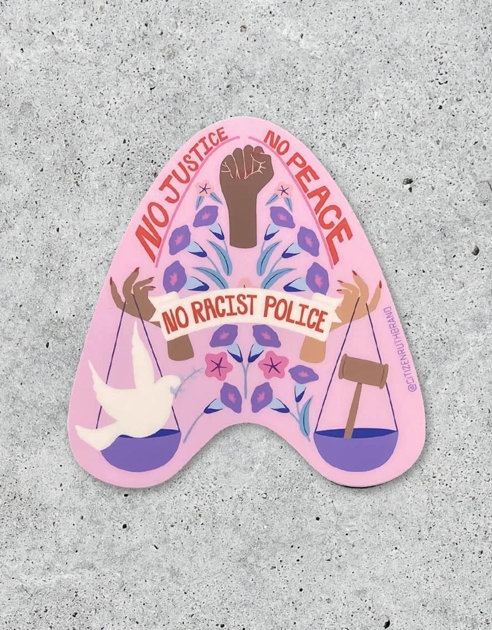 Sticker: No justice no peace