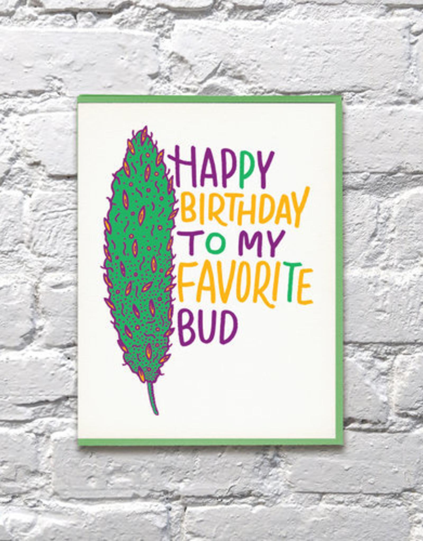 Bench Pressed Card - Birthday: Favorite Bud