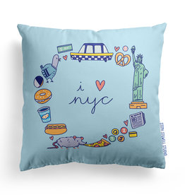 Steph Stilwell Illustration Pillow - I heart NYC