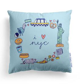 Steph Stilwell Illustration Pillow - I heart NYC
