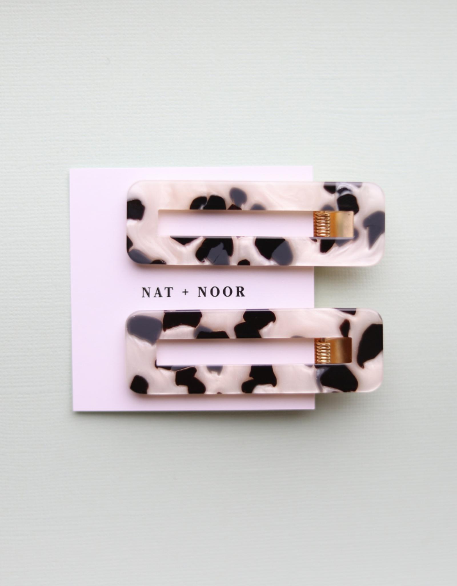 Nat & Noor Hair Clip Set of 2: Tortoise B + W