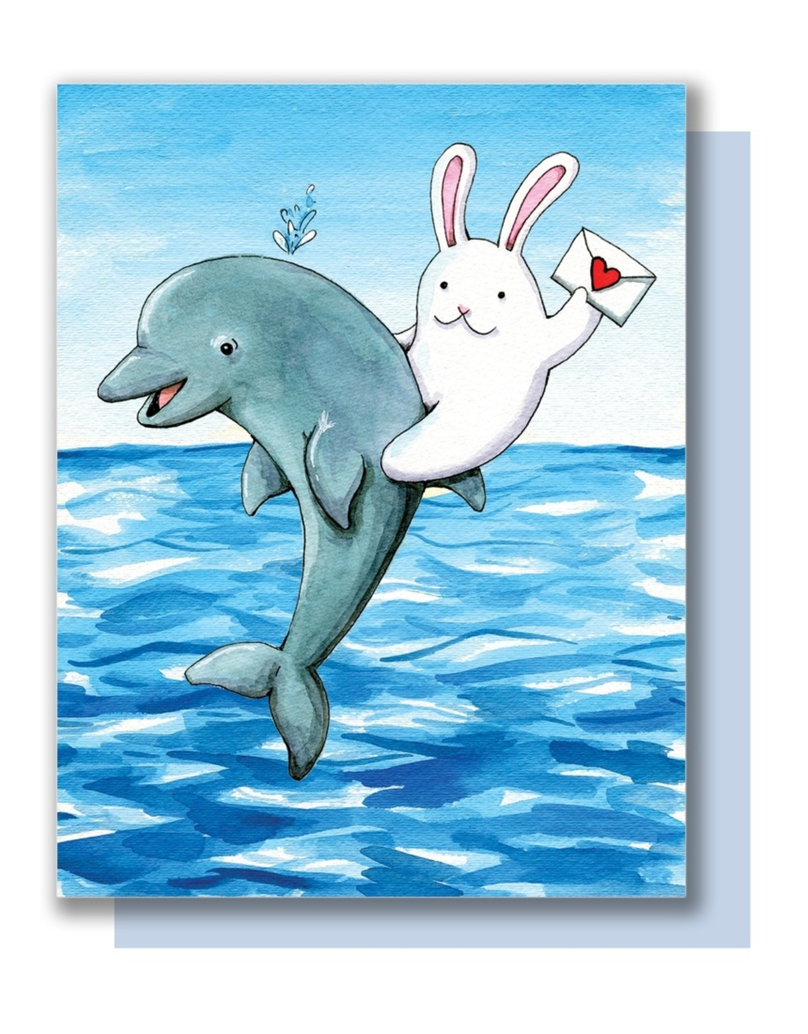 Paper Wilderness Card - Blank: Bunny riding dolphin