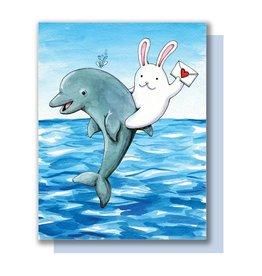 Card - Blank: Bunny riding dolphin