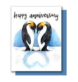 Paper Wilderness Card - Anniversary: Penguins