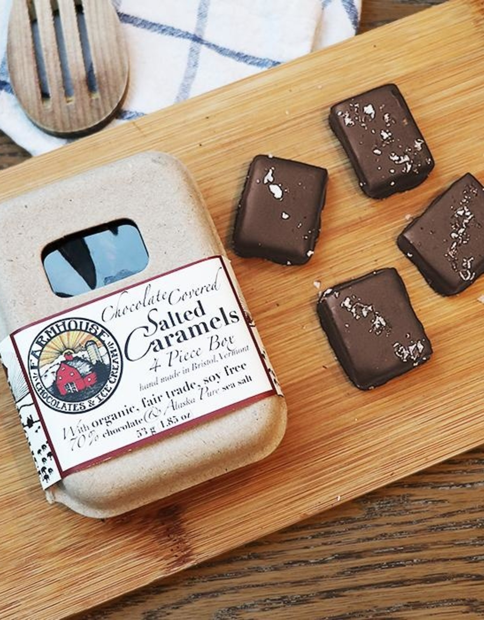 4 piece Dark Chocolate Covered Salted Caramel