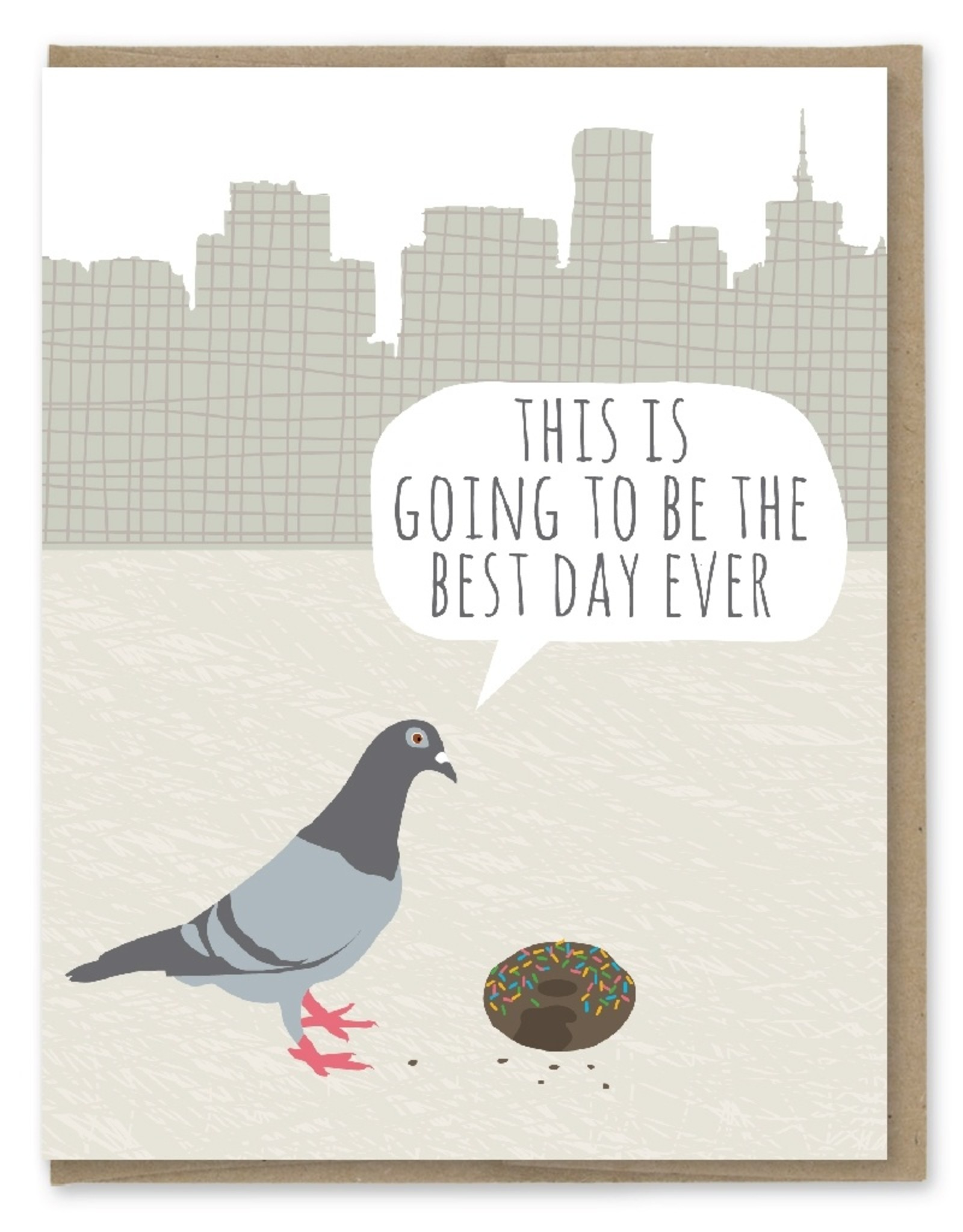 Card - Birthday: Pigeon Donut