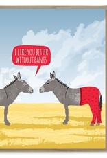 Modern Printed Matter Card - Blank: Pants Donkey