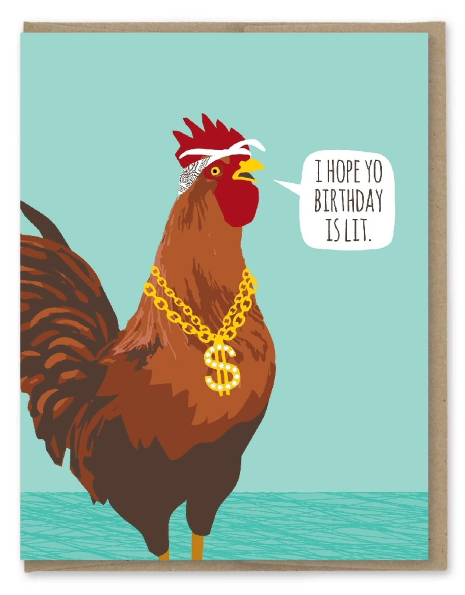 Card - Birthday: Lit Rooster