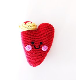 Pebble Heart Rattle - red
