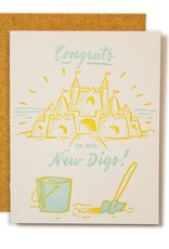 Ladyfingers Letterpress Card - Blank: Congrats on your new digs