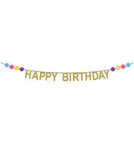 Party Partners Banner - Happy Birthday Pom Poms