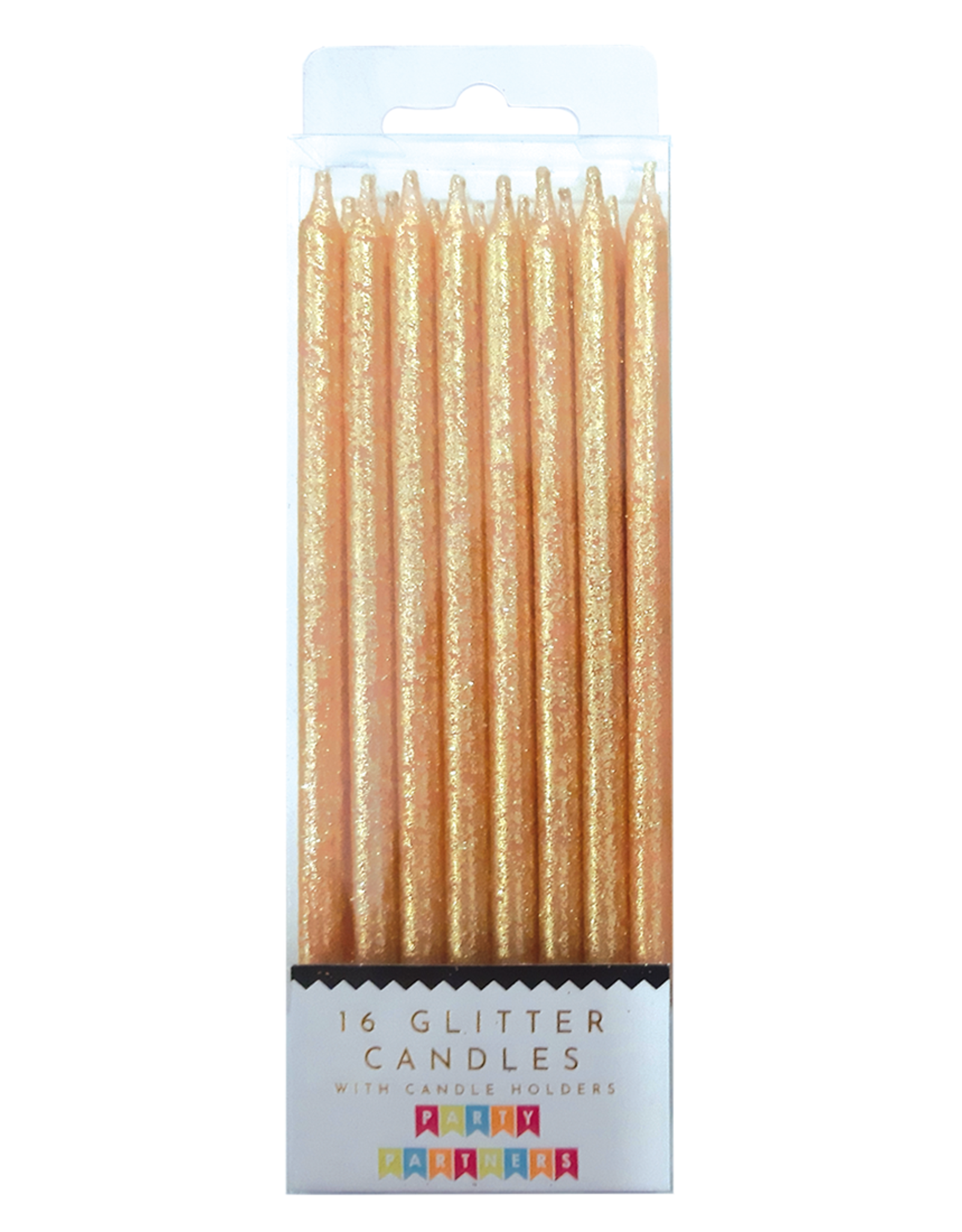 Candle Set: Tall Solid Gold Glitter
