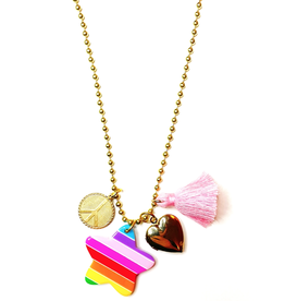 Gunner & Lux Charm Necklace: Peace and love