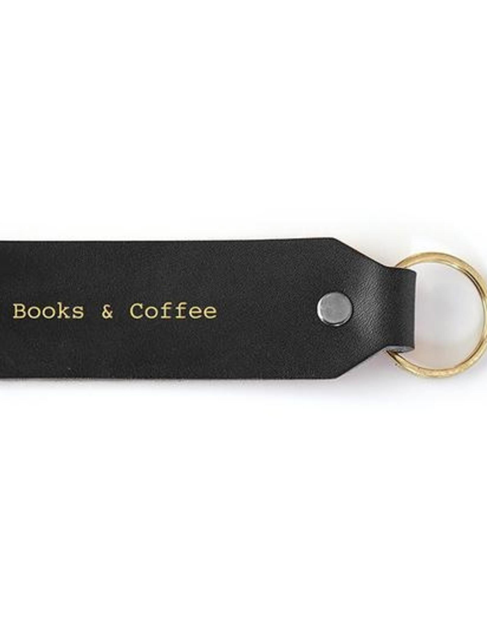 Seltzer Goods Leather Keychain: Books & Coffee
