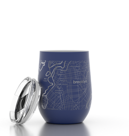 Well Told Brooklyn NY Map 12 oz  Blue Insulated Wine Tumbler