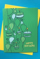 Rhino Parade Card - Birthday: Green Balloons