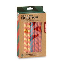 Kikkerland Colorful Striped Paper Straws
