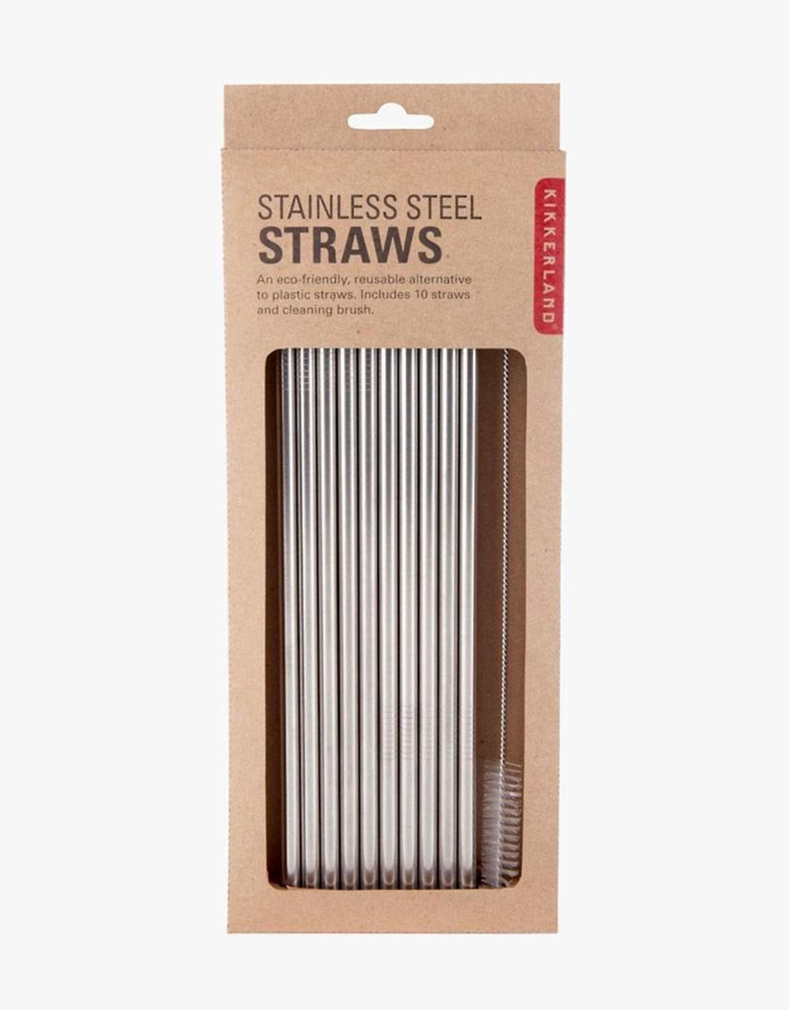 Kikkerland Straws Stainless Steel - set of 10