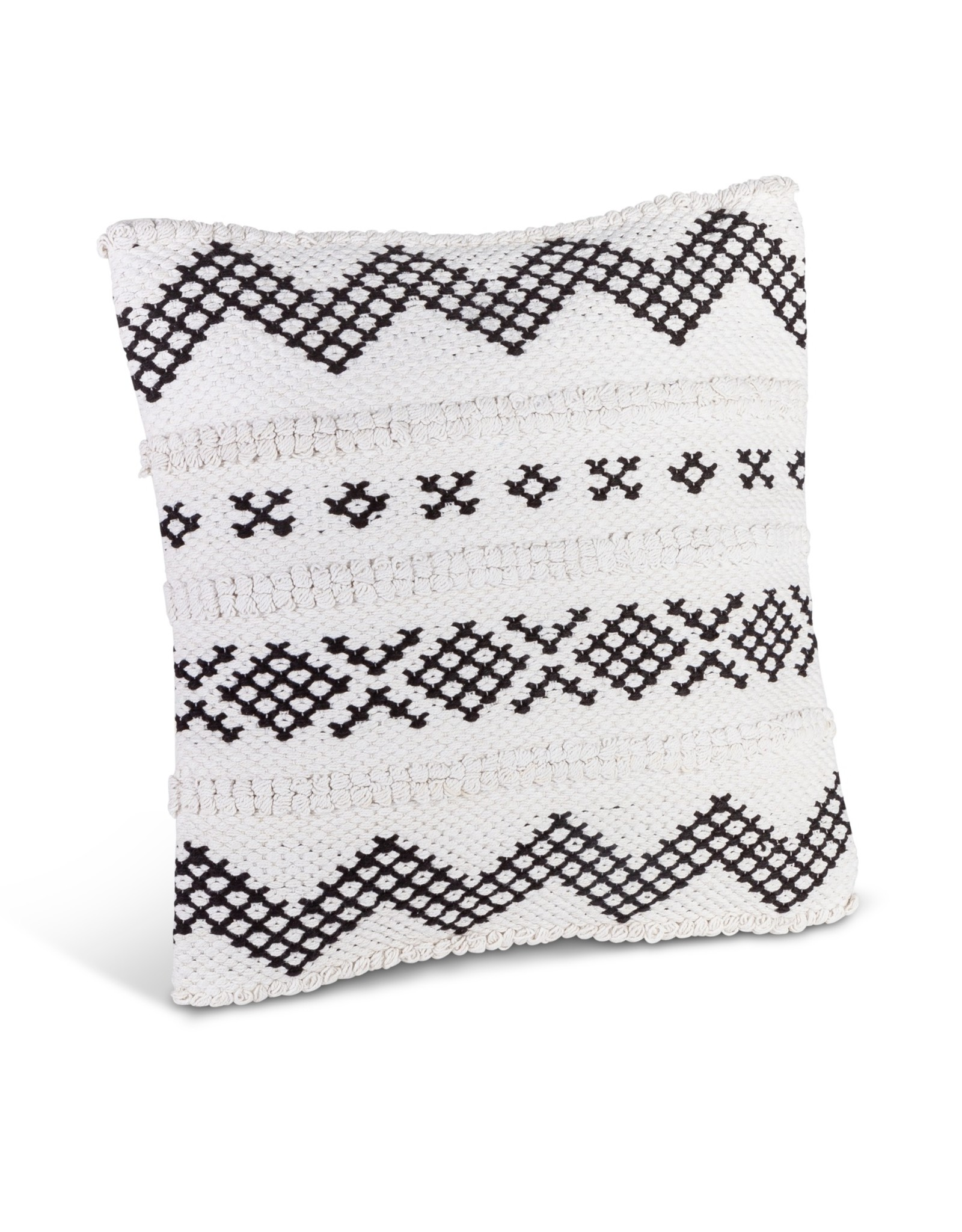 The Gerson Companies White with Black Cotton Woven Square Pillow