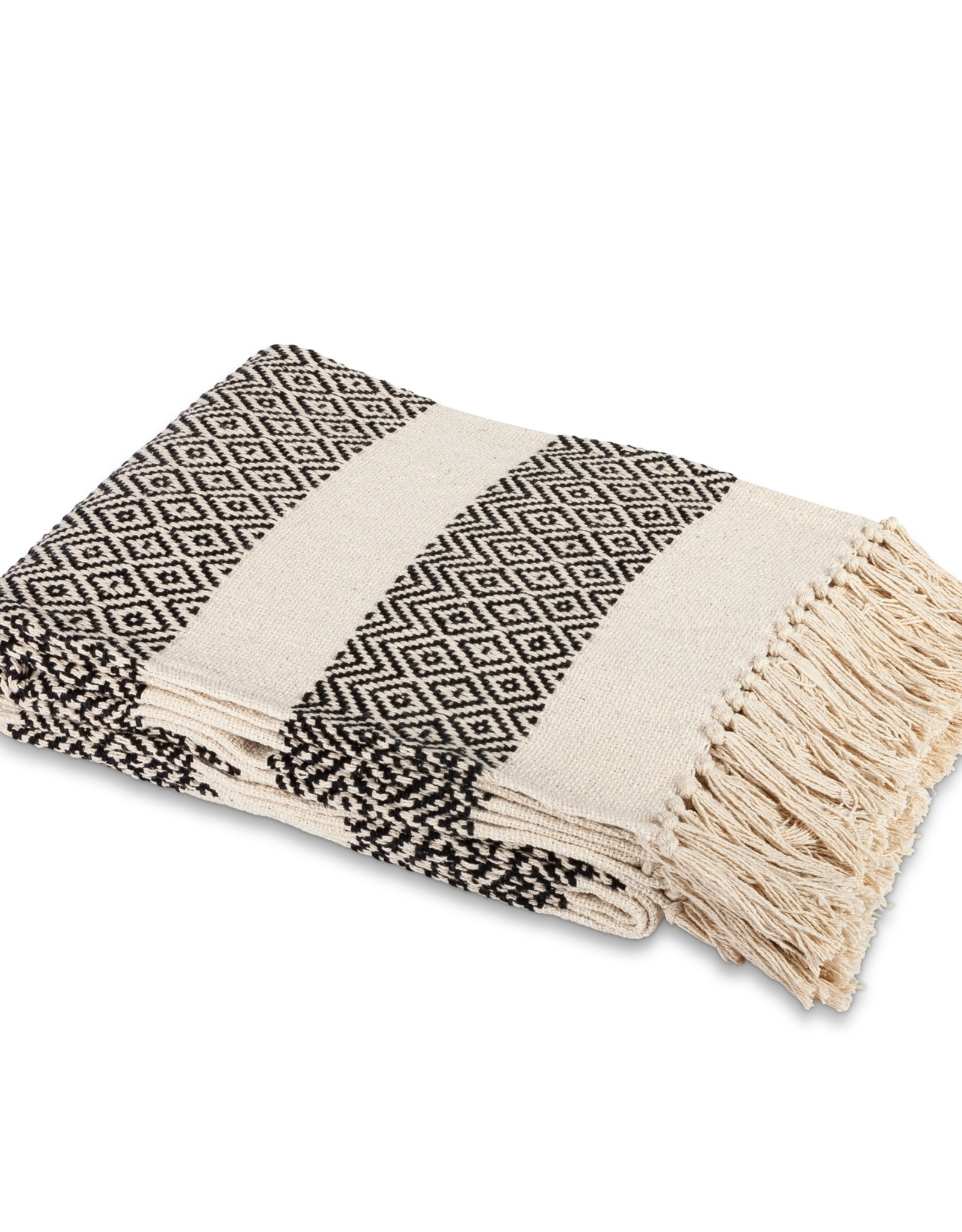 The Gerson Companies Cotton Handloom Woven Throw - black and white