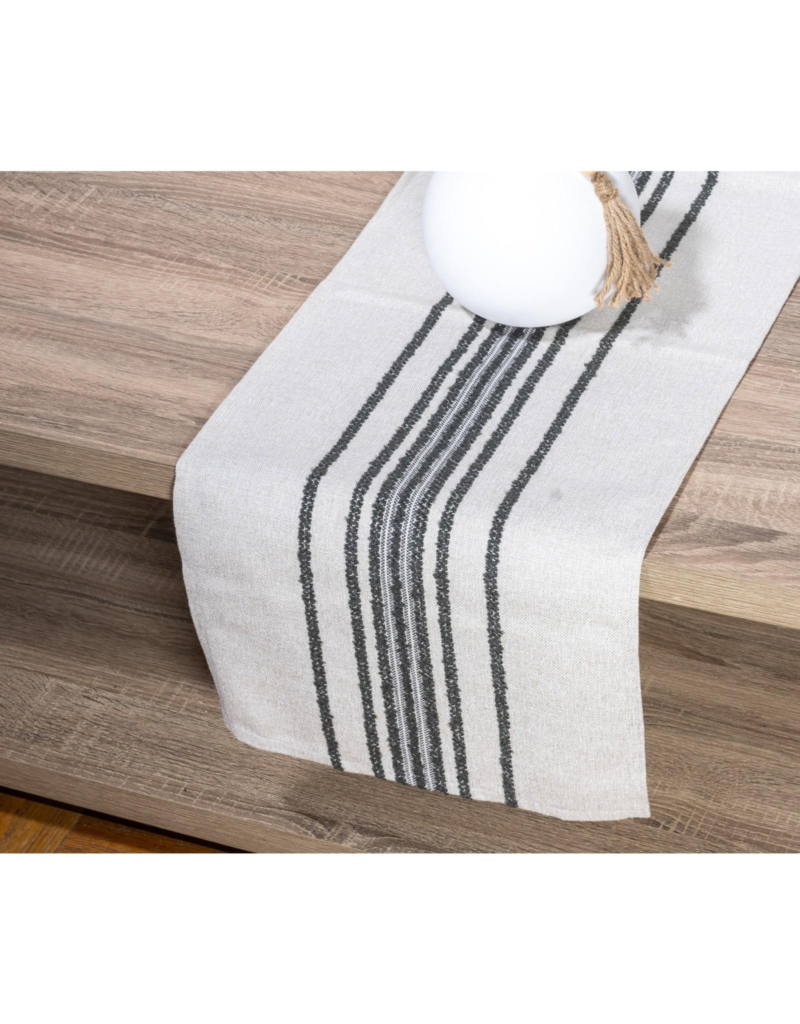 Old Lake George Table Runner -  grey and white texture 13 x 54