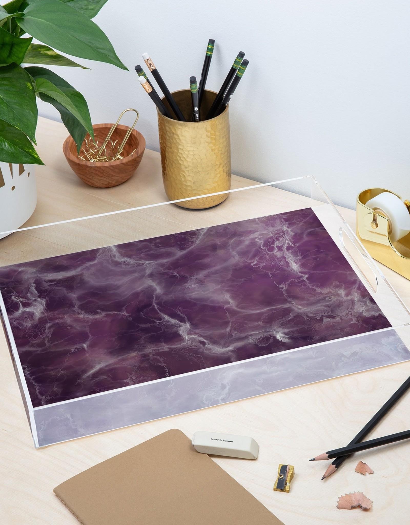 Deny Designs Large Tray - Acrylic: Amethyst Marble