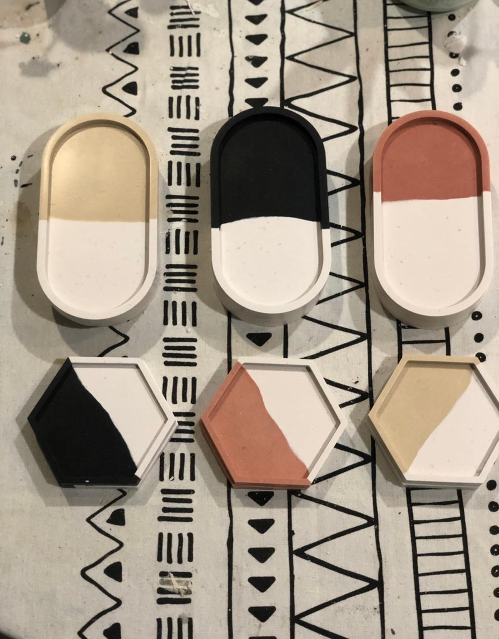 Amy Price Trinket tray - Terracotta white