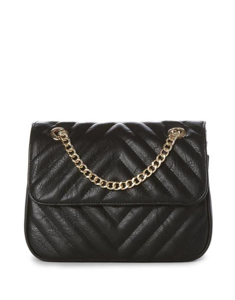 JEANE & JAX Quilted Chain X-Body BLACK