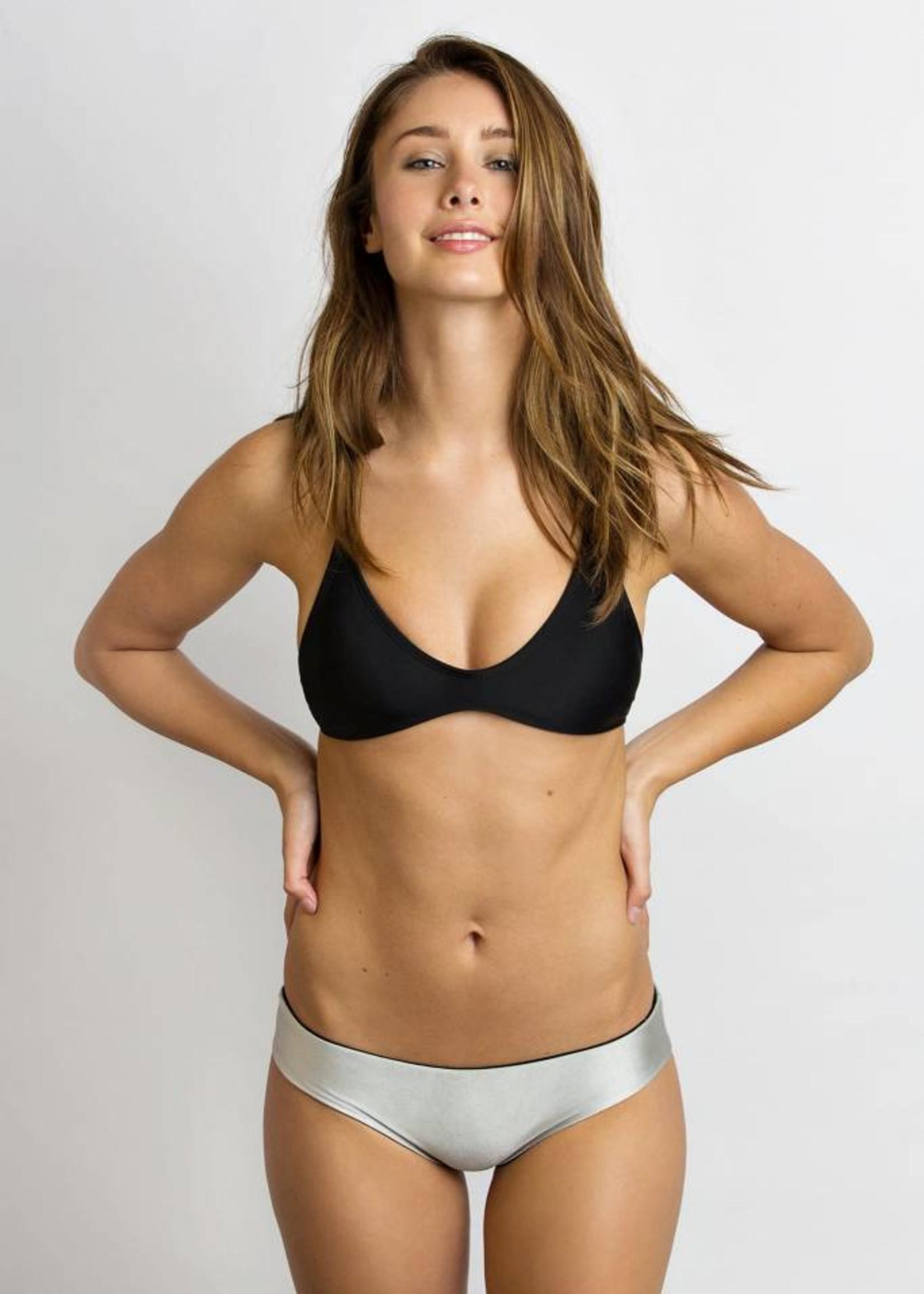 JUNE Swimwear Reversible Bikini Bottoms BLACK