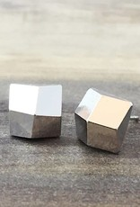 FAB Accessories Luxe Square Studs Silver