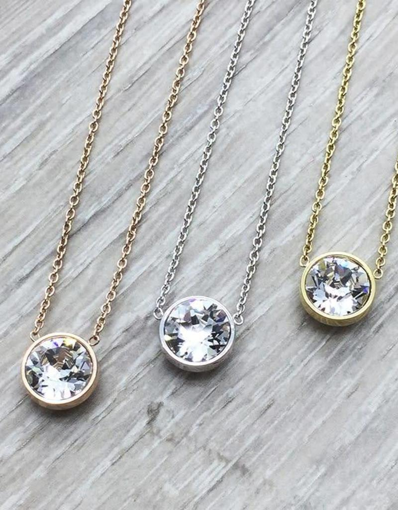 787876917 FAB Accessories Crystal Swarovski Necklace Rose Gold