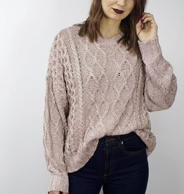 RD STYLE Cable Knit Sweater DUSTY ROSE
