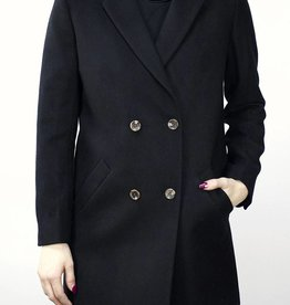 MINIMUM Double Breasted Wool Coat BLACK