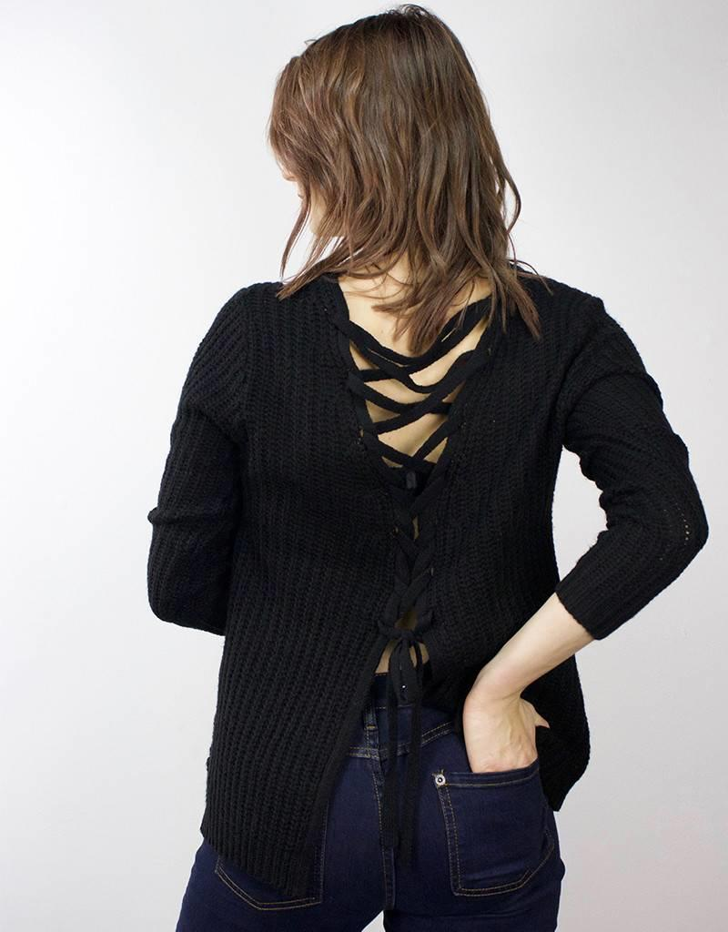 BB DAKOTA Cable Knit Sweater with Lace Up Detail BLACK