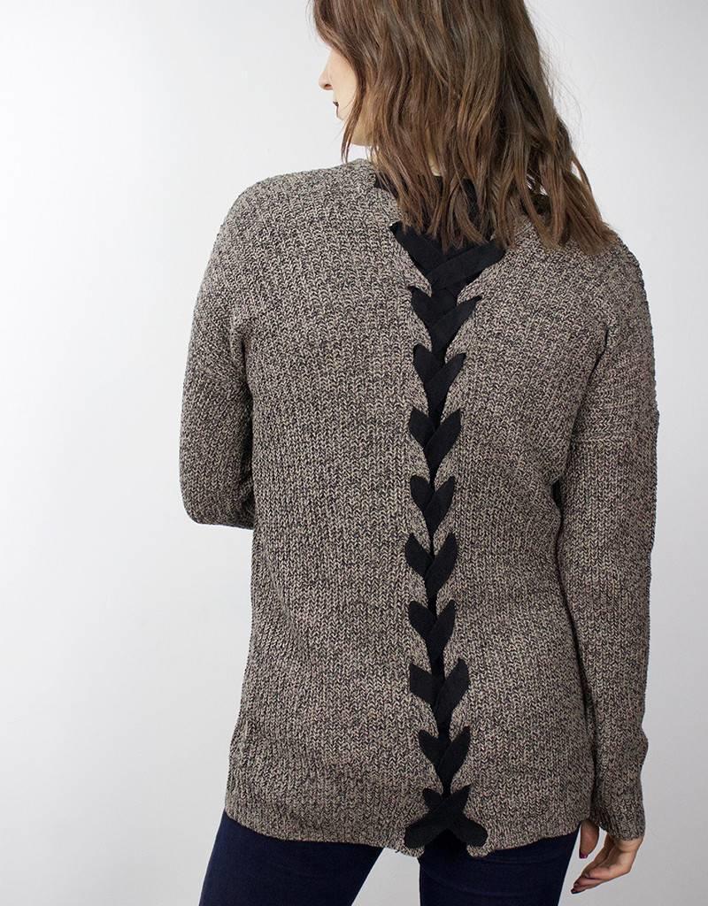 LeBLANC finds Lace-up Cardigan BROWN & BLACK