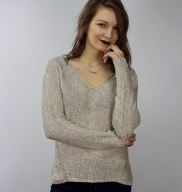 LeBLANC finds Knit Sweater with Lace Detail CREAM