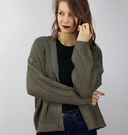 RD STYLE Chunky Knit Cardigan OLIVE/BROWN