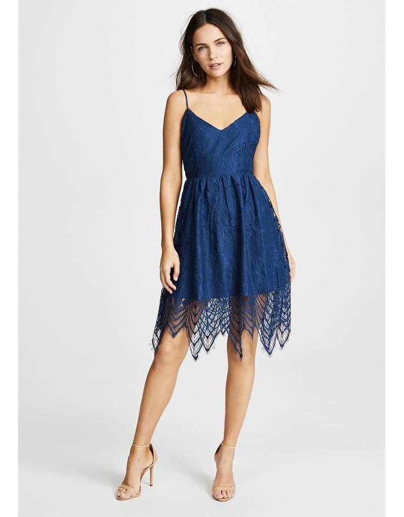BB DAKOTA Blue Lace Dress with scalloped hem