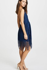 BB DAKOTA Blue Lace Dress with scalloped hem